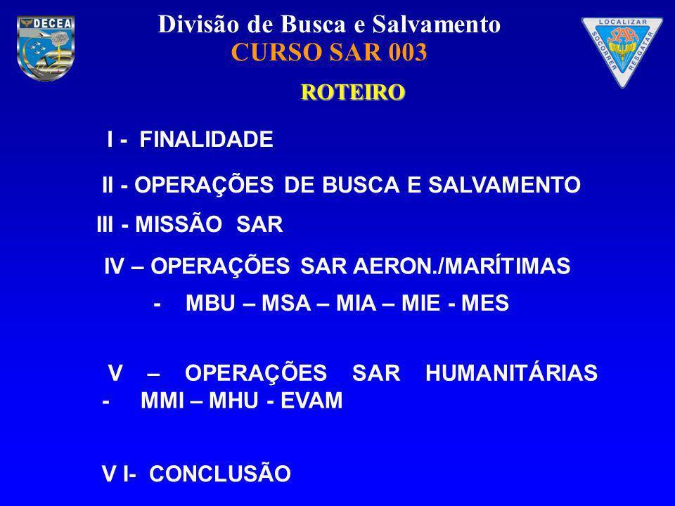 Divisão de Busca e Salvamento CURSO SAR 003 ROTEIRO - MBU – MSA – MIA – MIE - MES I - FINALIDADE V I- CONCLUSÃO II - OPERAÇÕES DE BUSCA E SALVAMENTO I