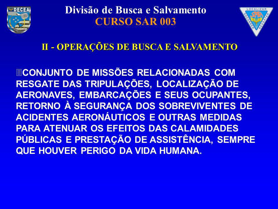 Divisão de Busca e Salvamento CURSO SAR 003 II - OPERAÇÕES DE BUSCA E SALVAMENTO II - OPERAÇÕES DE BUSCA E SALVAMENTO CONJUNTO DE MISSÕES RELACIONADAS