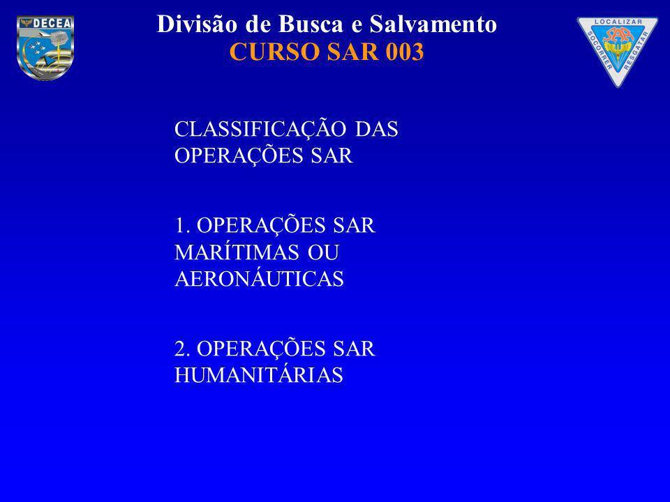 Divisão de Busca e Salvamento CURSO SAR 003 CLASSIFICAÇÃO DAS OPERAÇÕES SAR 1. OPERAÇÕES SAR MARÍTIMAS OU AERONÁUTICAS 2. OPERAÇÕES SAR HUMANITÁRIAS