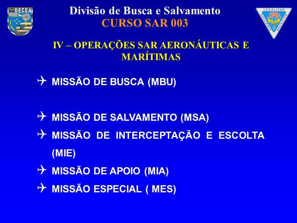 Divisão de Busca e Salvamento CURSO SAR 003 IV – OPERAÇÕES SAR AERONÁUTICAS E MARÍTIMAS MISSÃO DE BUSCA (MBU) MISSÃO DE SALVAMENTO (MSA) MISSÃO DE INT