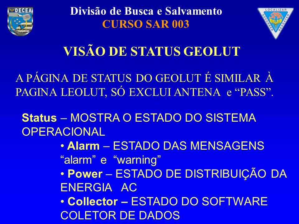 Divisão de Busca e Salvamento CURSO SAR 003 VISÃO DE STATUS GEOLUT A PÁGINA DE STATUS DO GEOLUT É SIMILAR À PAGINA LEOLUT, SÓ EXCLUI ANTENA e PASS. St