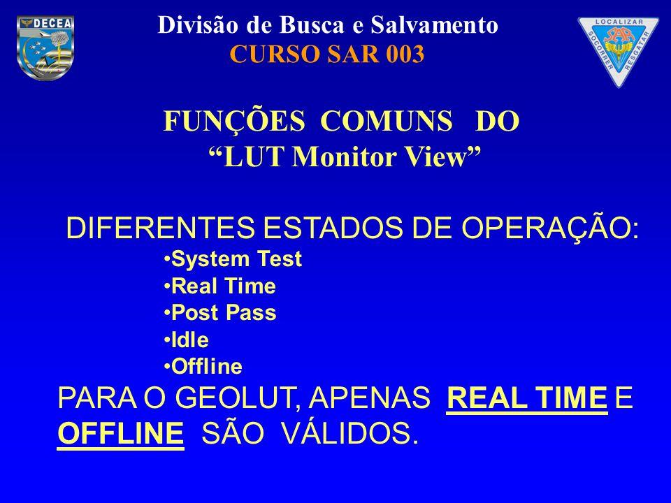 Divisão de Busca e Salvamento CURSO SAR 003 FUNÇÕES COMUNS DO LUT Monitor View DIFERENTES ESTADOS DE OPERAÇÃO: System Test Real Time Post Pass Idle Of