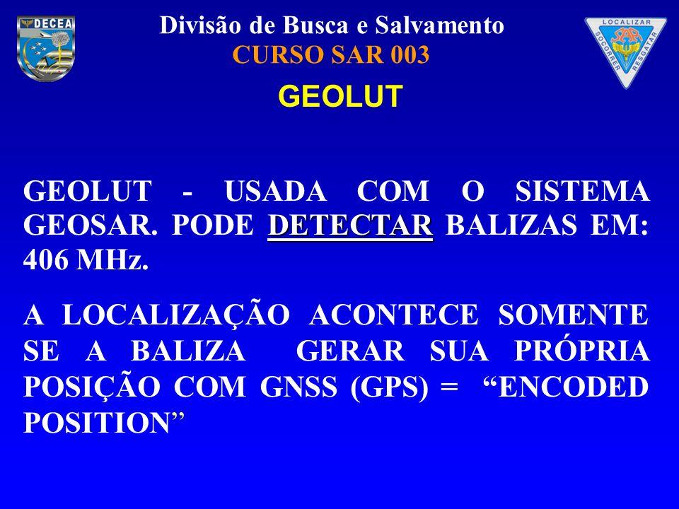 Divisão de Busca e Salvamento CURSO SAR 003 DETECTAR GEOLUT - USADA COM O SISTEMA GEOSAR. PODE DETECTAR BALIZAS EM: 406 MHz. A LOCALIZAÇÃO ACONTECE SO