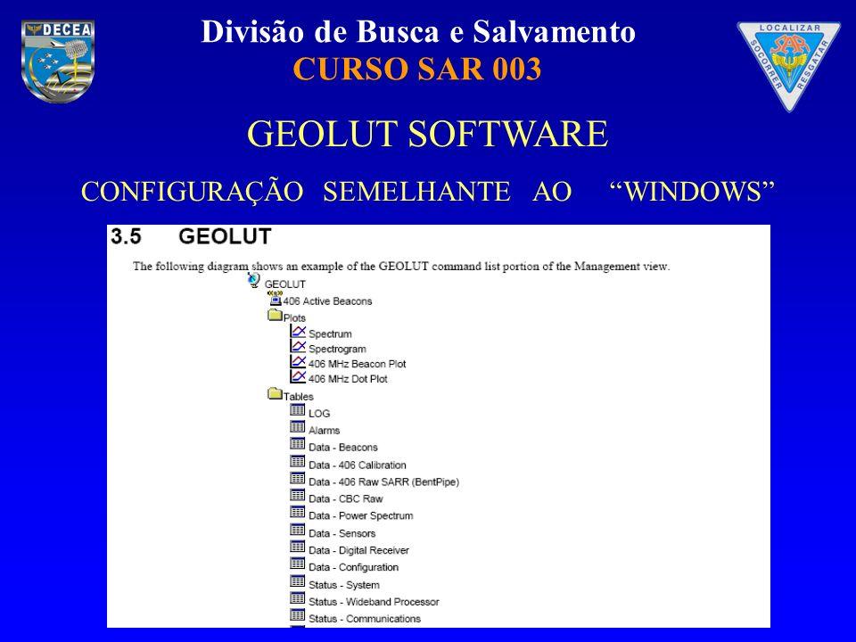 Divisão de Busca e Salvamento CURSO SAR 003 Digital Receiver GEOLUT Data Table Views