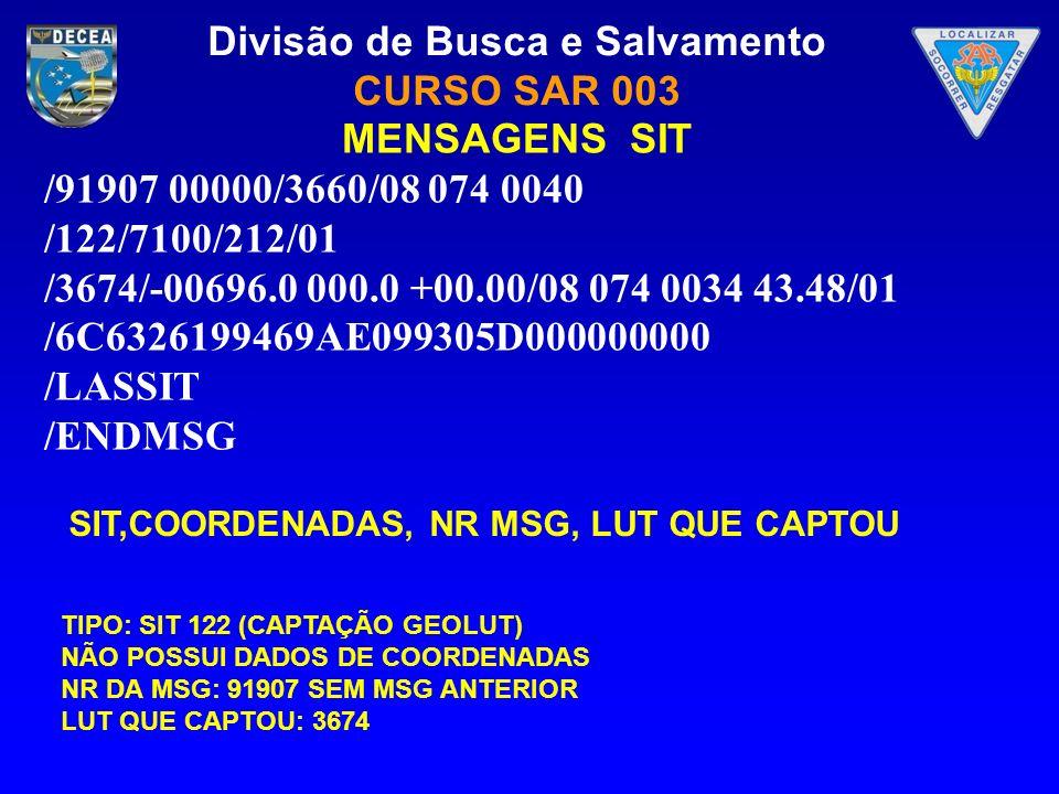 Divisão de Busca e Salvamento CURSO SAR 003 MENSAGENS SIT /91907 00000/3660/08 074 0040 /122/7100/212/01 /3674/-00696.0 000.0 +00.00/08 074 0034 43.48