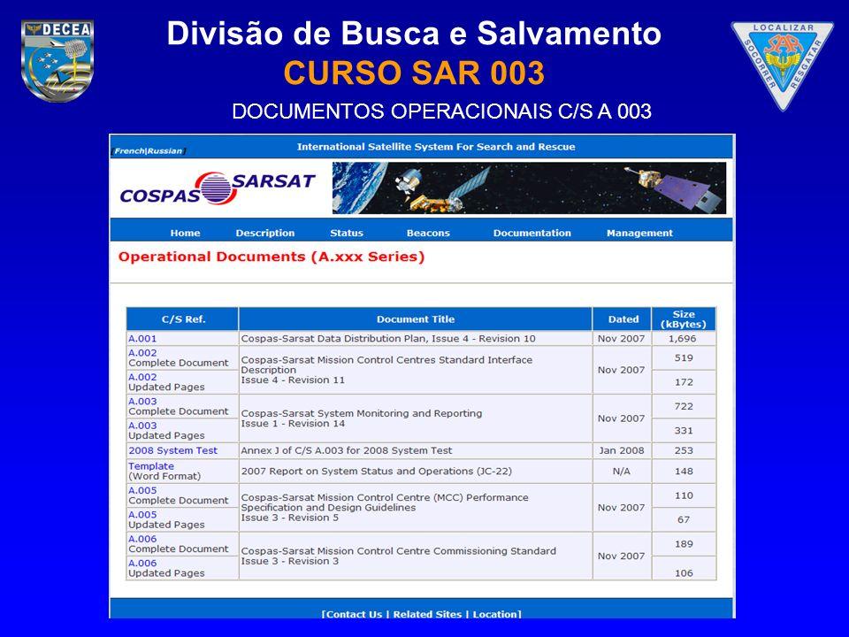 Divisão de Busca e Salvamento CURSO SAR 003 DOCUMENTOS OPERACIONAIS C/S A 003