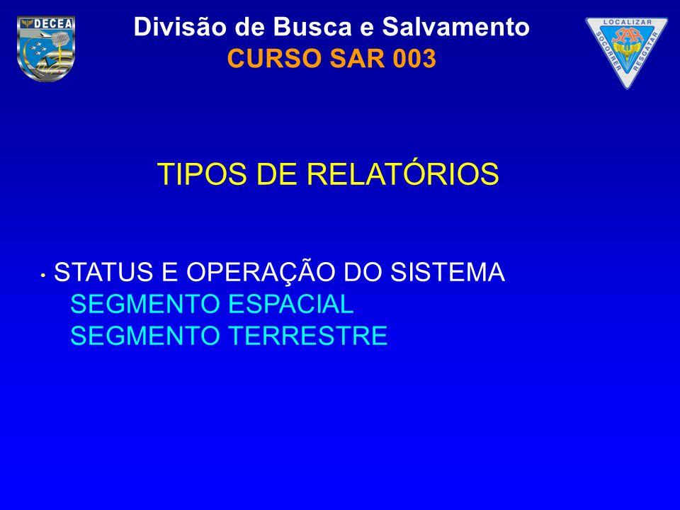 Divisão de Busca e Salvamento CURSO SAR 003 STATUS E OPERAÇÃO DO SISTEMA SEGMENTO ESPACIAL SEGMENTO TERRESTRE TIPOS DE RELATÓRIOS