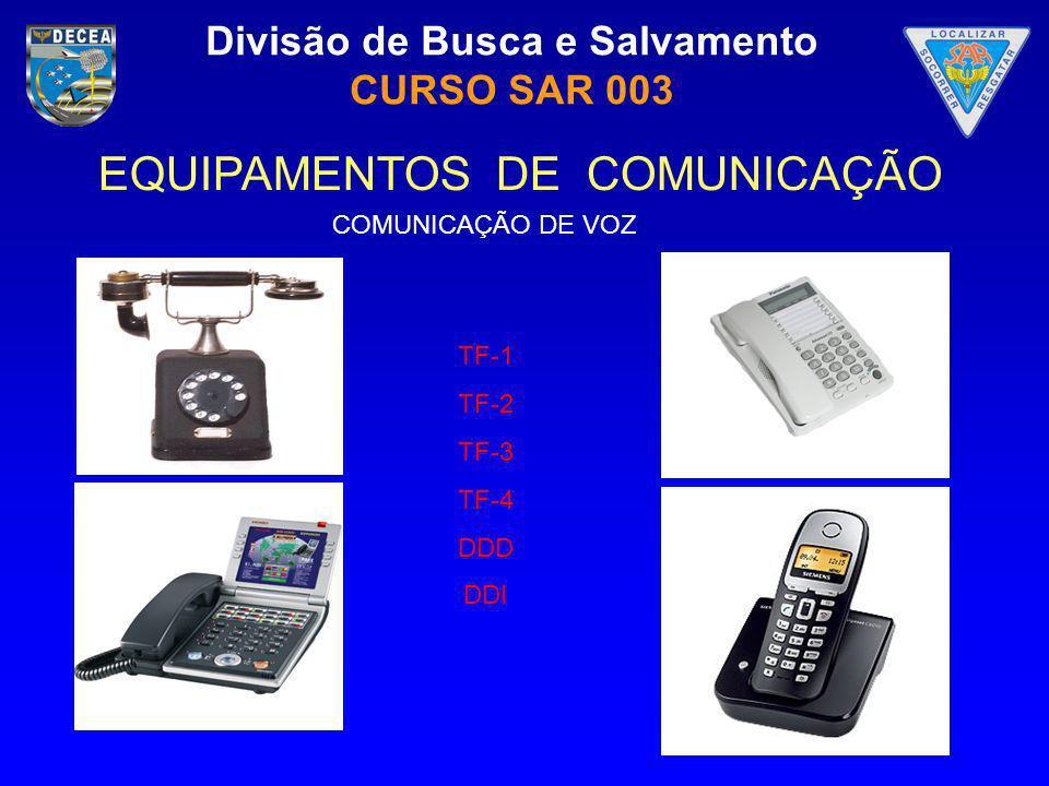 Divisão de Busca e Salvamento CURSO SAR 003 EQUIPAMENTOS DE COMUNICAÇÃO COMUNICAÇÃO DE VOZ TF-1 TF-2 TF-3 TF-4 DDD DDI