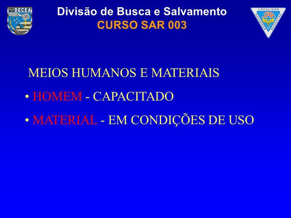 Divisão de Busca e Salvamento CURSO SAR 003 MEIOS HUMANOS E MATERIAIS HOMEM - CAPACITADO MATERIAL - EM CONDIÇÕES DE USO