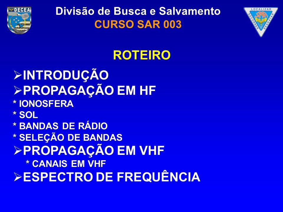 Divisão de Busca e Salvamento CURSO SAR 003 INTRODUÇÃO Faixa HF (3 A 30 MHz) – ONDAS CURTAS (10 a 100m) Ondas de Superfície – Pequenas Distâncias Refração Ionosférica – Grandes Distâncias Faixa VHF (30 A 300 MHz) – ONDAS MUITO CURTAS(1 a 10m) Linha de Visada – Distâncias menores que 50 Km.