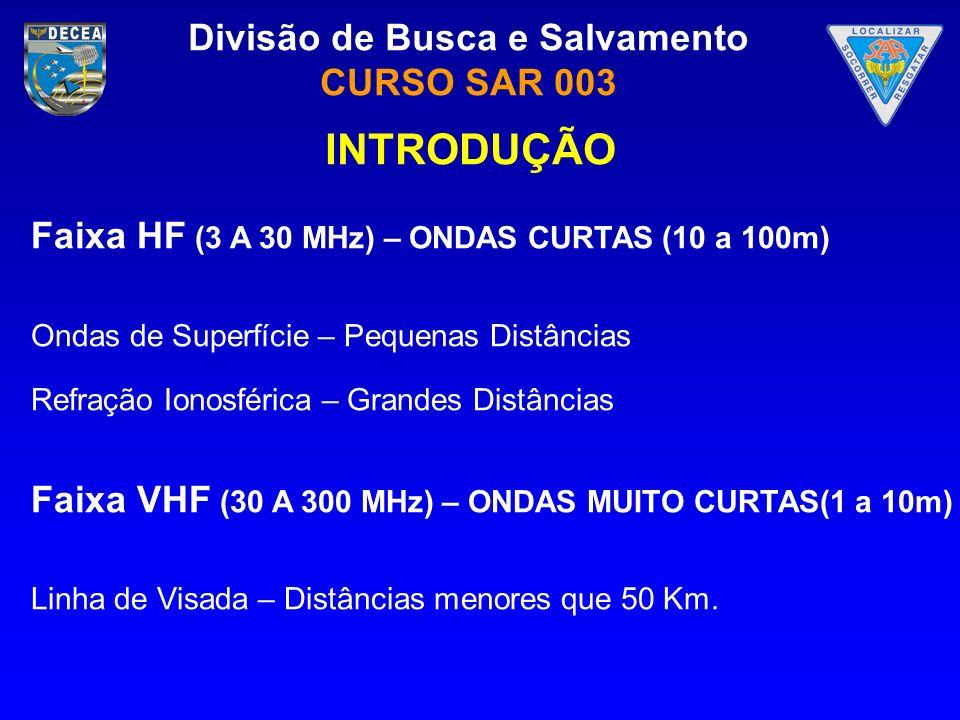 Divisão de Busca e Salvamento CURSO SAR 003 PROPAGAÇÃO EM HF Precisamos conhecer um pouco sobre a IONOSFERA.