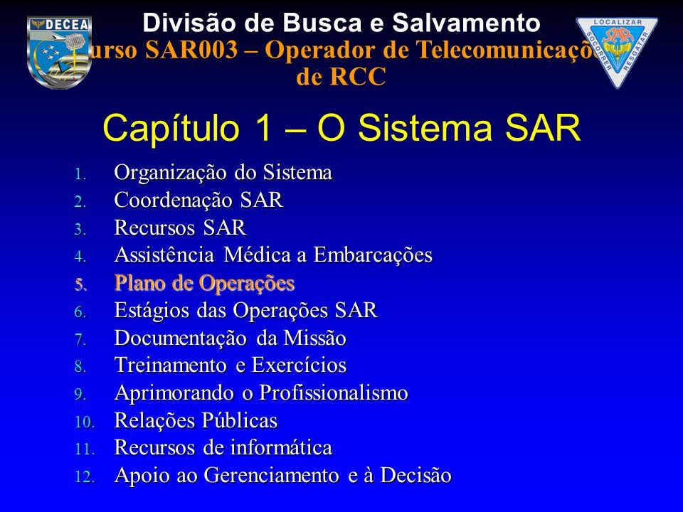 Divisão de Busca e Salvamento Curso SAR003 – Operador de Telecomunicações de RCC 1. Organização do Sistema 2. Coordenação SAR 3. Recursos SAR 4. Assis