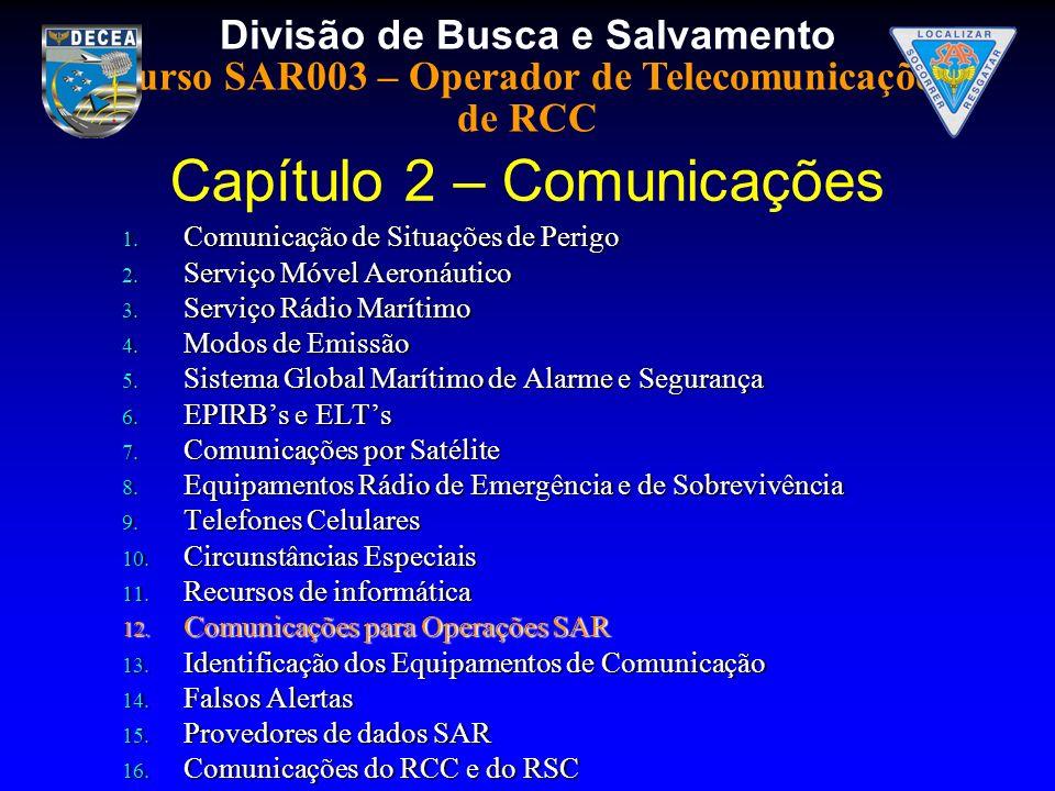 Divisão de Busca e Salvamento Curso SAR003 – Operador de Telecomunicações de RCC 1. Comunicação de Situações de Perigo 2. Serviço Móvel Aeronáutico 3.