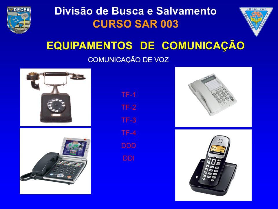 Divisão de Busca e Salvamento CURSO SAR 003 COMUNICAÇÃO DE VOZ TF-1 TF-2 TF-3 TF-4 DDD DDI EQUIPAMENTOS DE COMUNICAÇÃO