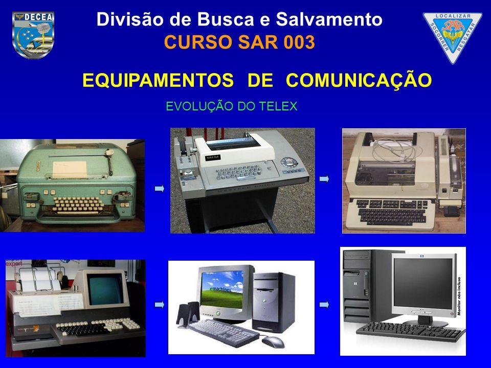 Divisão de Busca e Salvamento CURSO SAR 003 EVOLUÇÃO DO TELEX EQUIPAMENTOS DE COMUNICAÇÃO