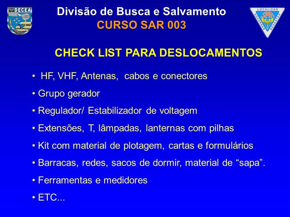 Divisão de Busca e Salvamento CURSO SAR 003 CHECK LIST PARA DESLOCAMENTOS HF, VHF, Antenas, cabos e conectores Grupo gerador Regulador/ Estabilizador