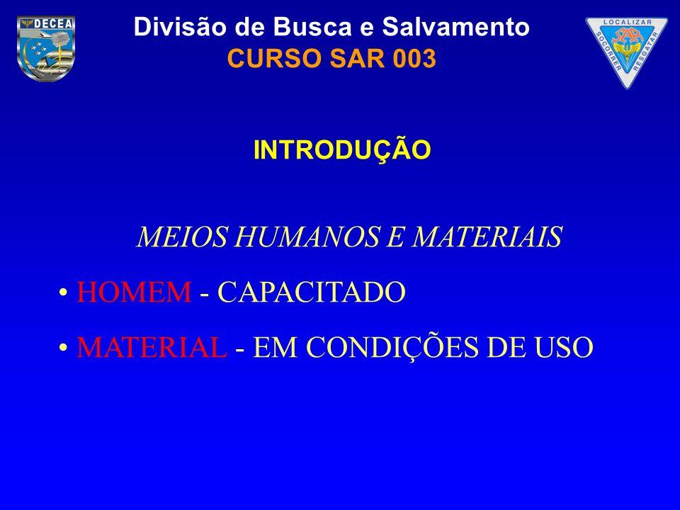 Divisão de Busca e Salvamento CURSO SAR 003 MEIOS HUMANOS E MATERIAIS HOMEM - CAPACITADO MATERIAL - EM CONDIÇÕES DE USO INTRODUÇÃO