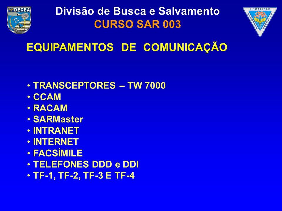 Divisão de Busca e Salvamento CURSO SAR 003 EQUIPAMENTOS DE COMUNICAÇÃO TRANSCEPTORES – TW 7000 CCAM RACAM SARMaster INTRANET INTERNET FACSÍMILE TELEF