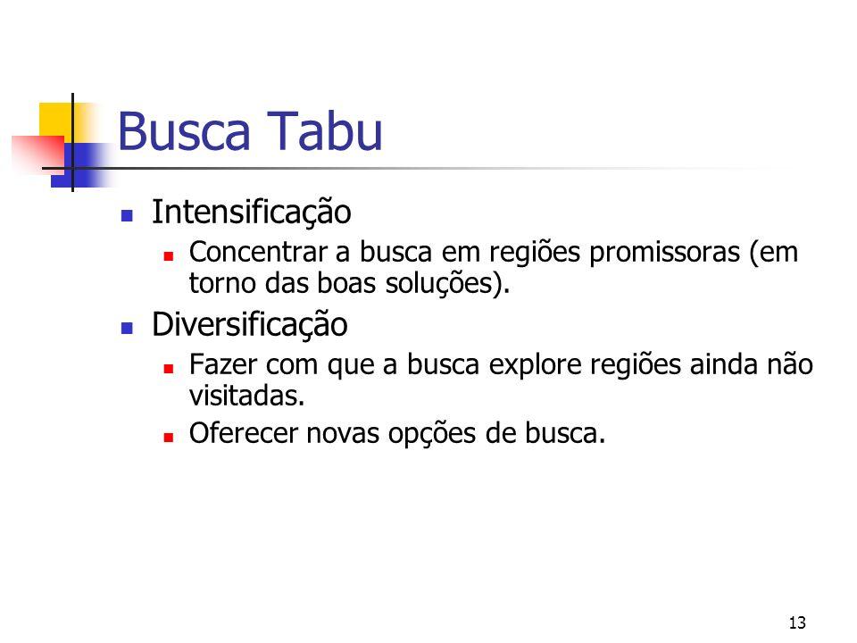 13 Busca Tabu Intensificação Concentrar a busca em regiões promissoras (em torno das boas soluções). Diversificação Fazer com que a busca explore regi