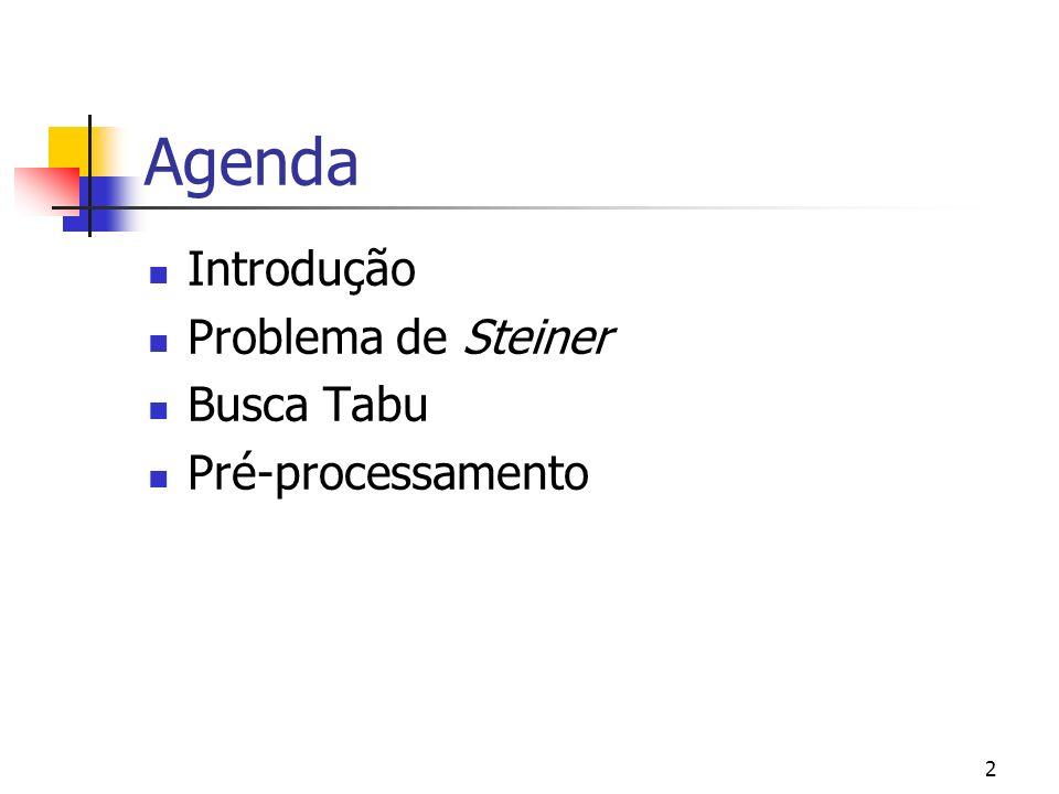 2 Agenda Introdução Problema de Steiner Busca Tabu Pré-processamento