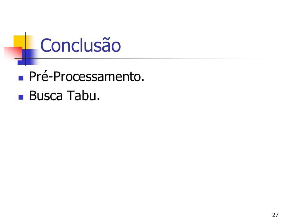 27 Conclusão Pré-Processamento. Busca Tabu.