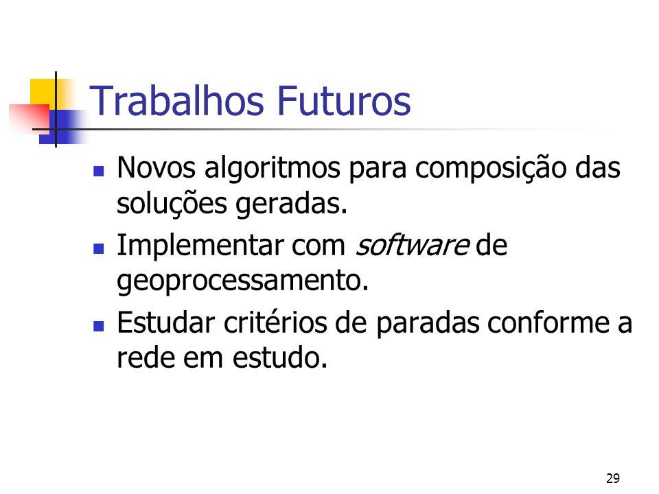 29 Trabalhos Futuros Novos algoritmos para composição das soluções geradas. Implementar com software de geoprocessamento. Estudar critérios de paradas
