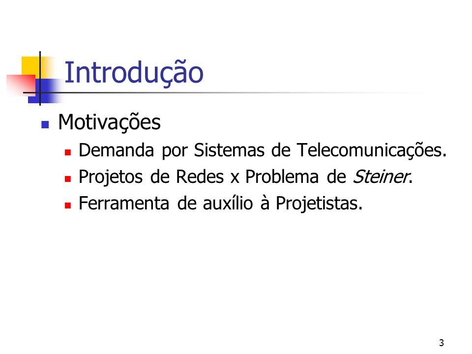 3 Introdução Motivações Demanda por Sistemas de Telecomunicações. Projetos de Redes x Problema de Steiner. Ferramenta de auxílio à Projetistas.