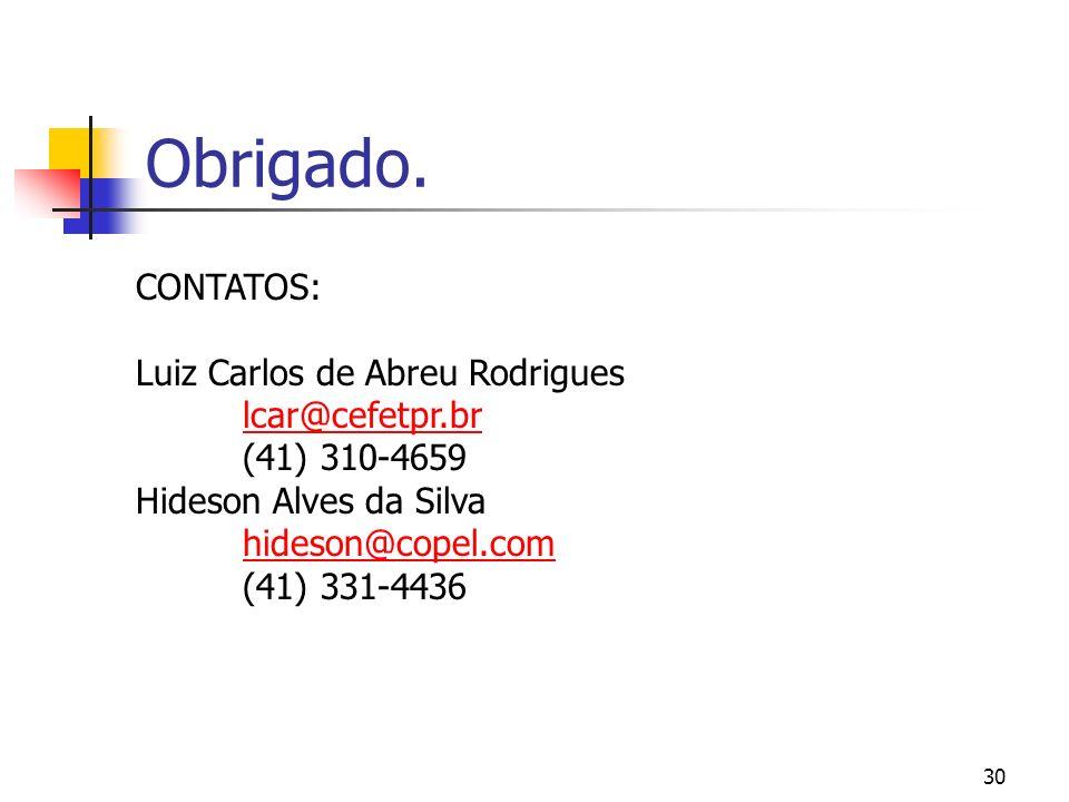 30 Obrigado. CONTATOS: Luiz Carlos de Abreu Rodrigues lcar@cefetpr.br (41) 310-4659 Hideson Alves da Silva hideson@copel.com (41) 331-4436