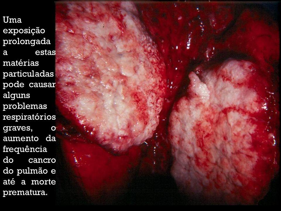 Uma exposição prolongada a estas matérias particuladas pode causar alguns problemas respiratórios graves, o aumento da frequência do cancro do pulmão