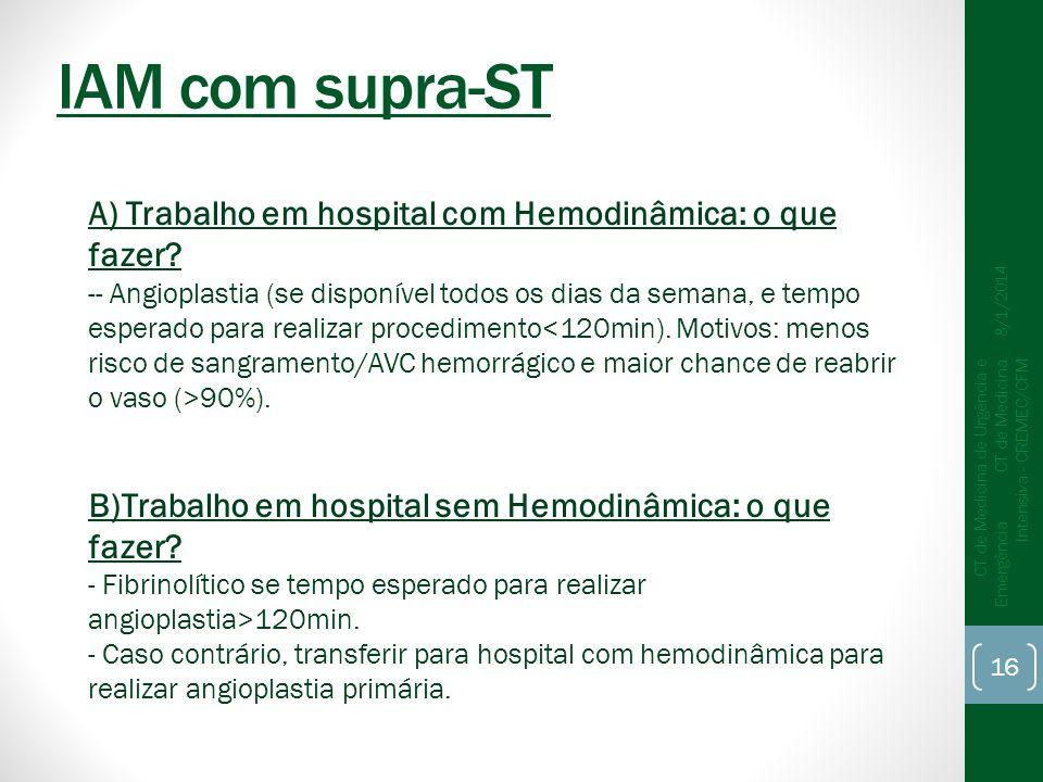 8/1/2014 CT de Medicina de Urgência e Emergência CT de Medicina Intensiva - CREMEC/CFM 16 IAM com supra-ST A) Trabalho em hospital com Hemodinâmica: o que fazer.