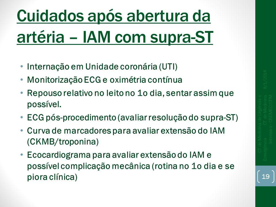 Cuidados após abertura da artéria – IAM com supra-ST Internação em Unidade coronária (UTI) Monitorização ECG e oximétria contínua Repouso relativo no leito no 1o dia, sentar assim que possível.