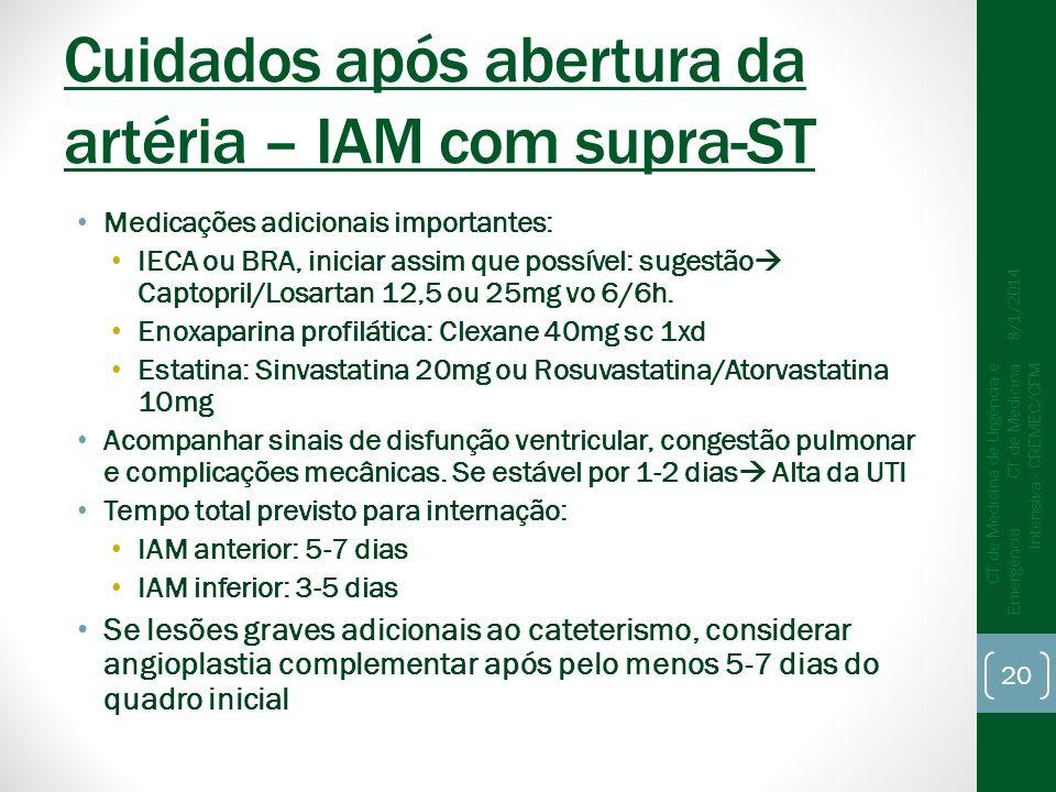 Cuidados após abertura da artéria – IAM com supra-ST Medicações adicionais importantes: IECA ou BRA, iniciar assim que possível: sugestão Captopril/Losartan 12,5 ou 25mg vo 6/6h.