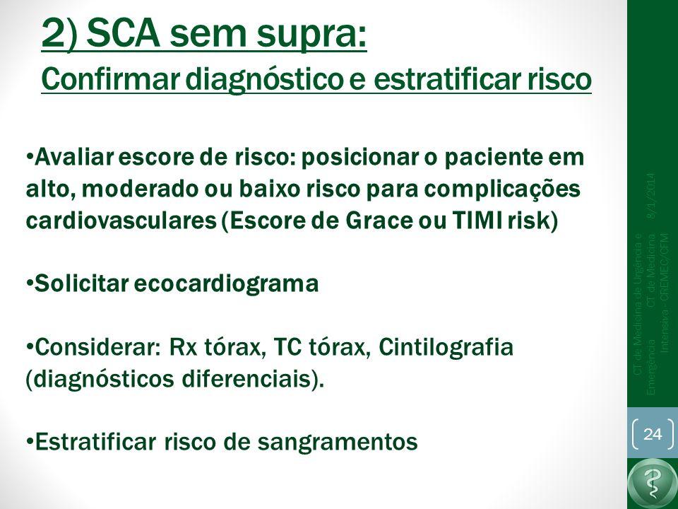 2) SCA sem supra: Confirmar diagnóstico e estratificar risco 8/1/2014 CT de Medicina de Urgência e Emergência CT de Medicina Intensiva - CREMEC/CFM 24 Avaliar escore de risco: posicionar o paciente em alto, moderado ou baixo risco para complicações cardiovasculares (Escore de Grace ou TIMI risk) Solicitar ecocardiograma Considerar: Rx tórax, TC tórax, Cintilografia (diagnósticos diferenciais).