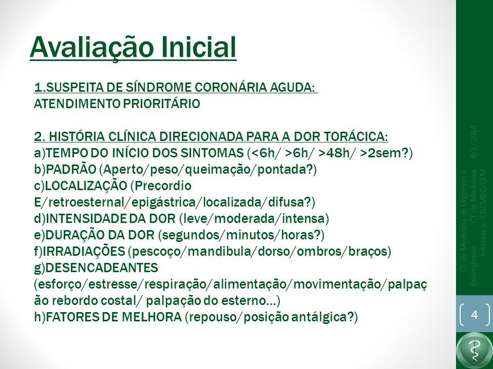Avaliação Inicial 8/1/2014 CT de Medicina de Urgência e Emergência CT de Medicina Intensiva - CREMEC/CFM 4 1.SUSPEITA DE SÍNDROME CORONÁRIA AGUDA: ATENDIMENTO PRIORITÁRIO 2.