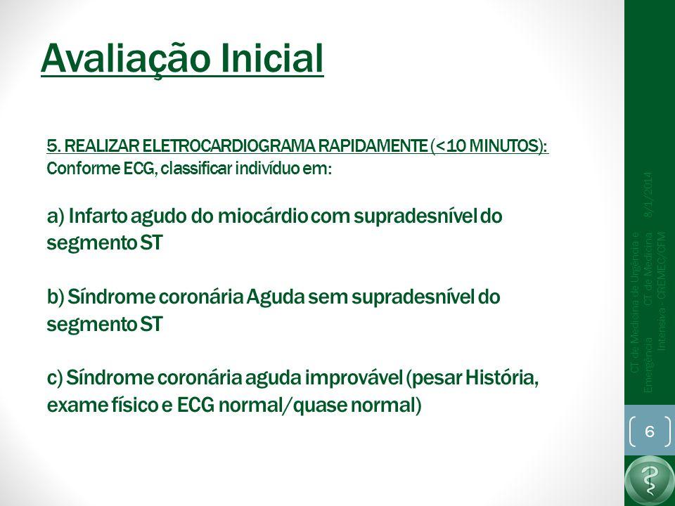 Avaliação Inicial 8/1/2014 CT de Medicina de Urgência e Emergência CT de Medicina Intensiva - CREMEC/CFM 6 5.