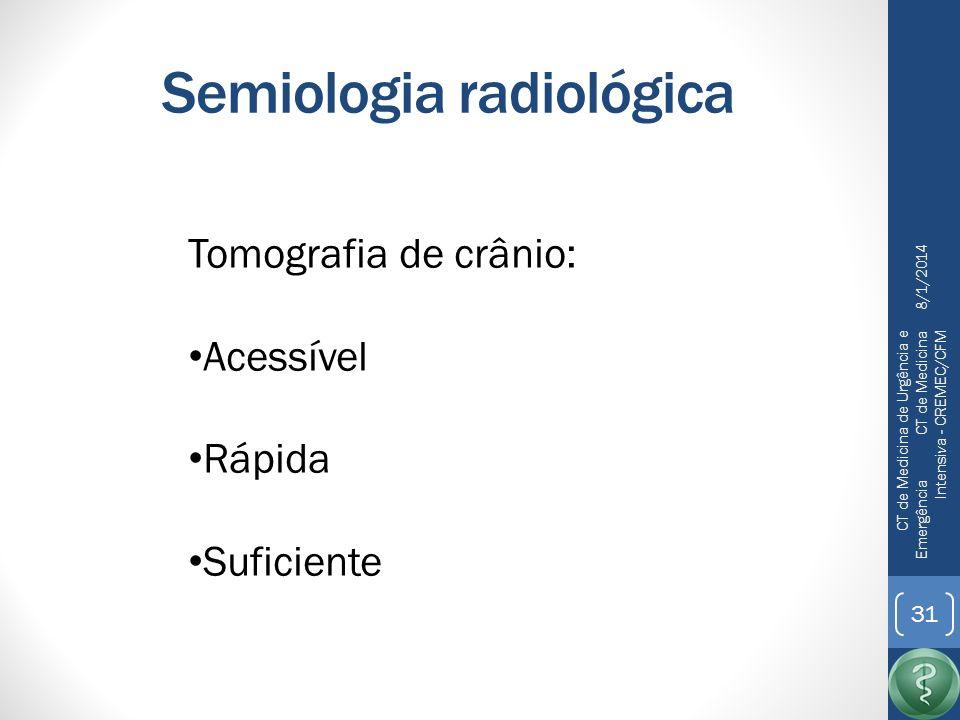 Semiologia radiológica 8/1/2014 CT de Medicina de Urgência e Emergência CT de Medicina Intensiva - CREMEC/CFM 32