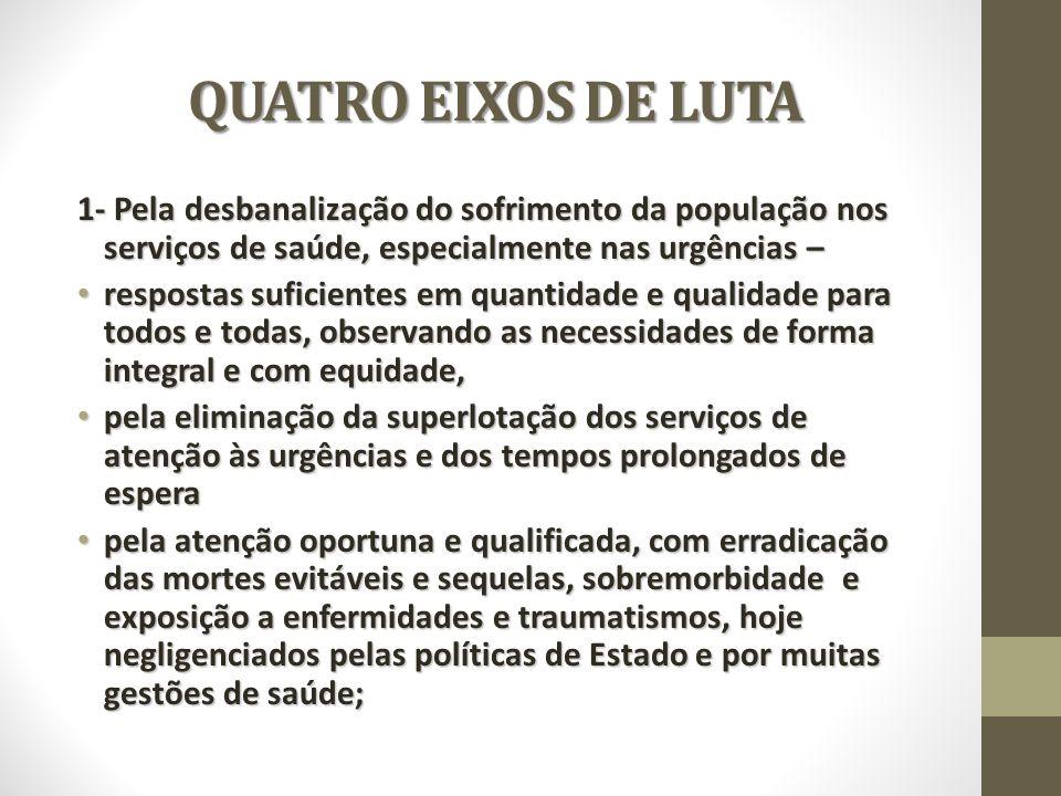 QUATRO EIXOS DE LUTA 1- Pela desbanalização do sofrimento da população nos serviços de saúde, especialmente nas urgências – respostas suficientes em q
