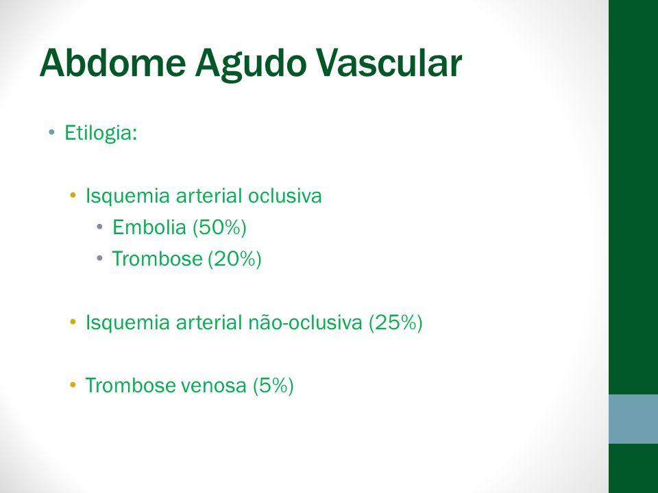 Abdome Agudo Vascular Etilogia: Isquemia arterial oclusiva Embolia (50%) Trombose (20%) Isquemia arterial não-oclusiva (25%) Trombose venosa (5%)