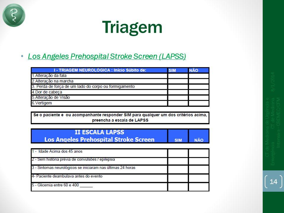 Triagem Los Angeles Prehospital Stroke Screen (LAPSS) 8/1/2014 CT de Medicina de Urgência e Emergência CT de Medicina Intensiva - CREMEC/CFM 14
