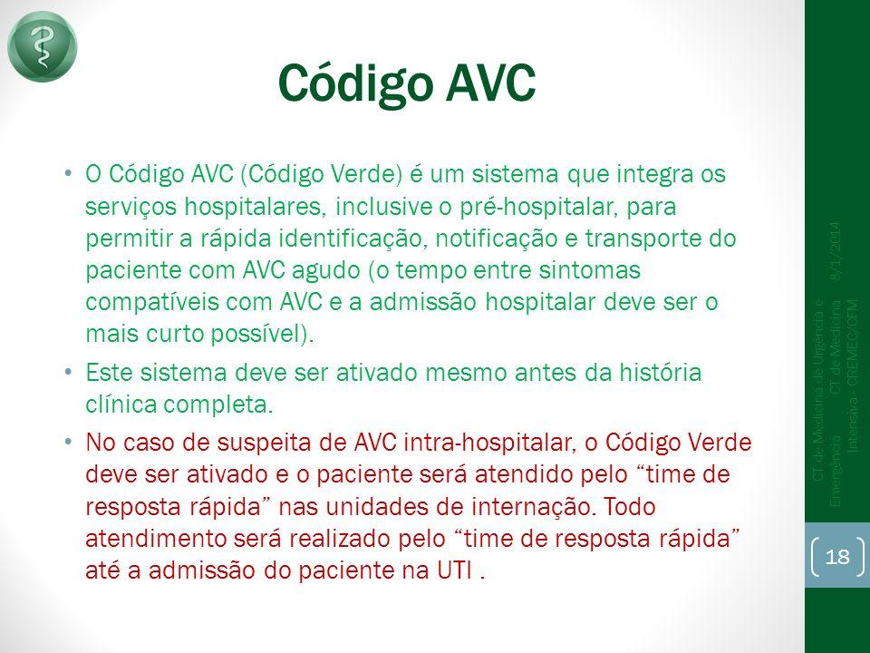 Código AVC O Código AVC (Código Verde) é um sistema que integra os serviços hospitalares, inclusive o pré-hospitalar, para permitir a rápida identificação, notificação e transporte do paciente com AVC agudo (o tempo entre sintomas compatíveis com AVC e a admissão hospitalar deve ser o mais curto possível).
