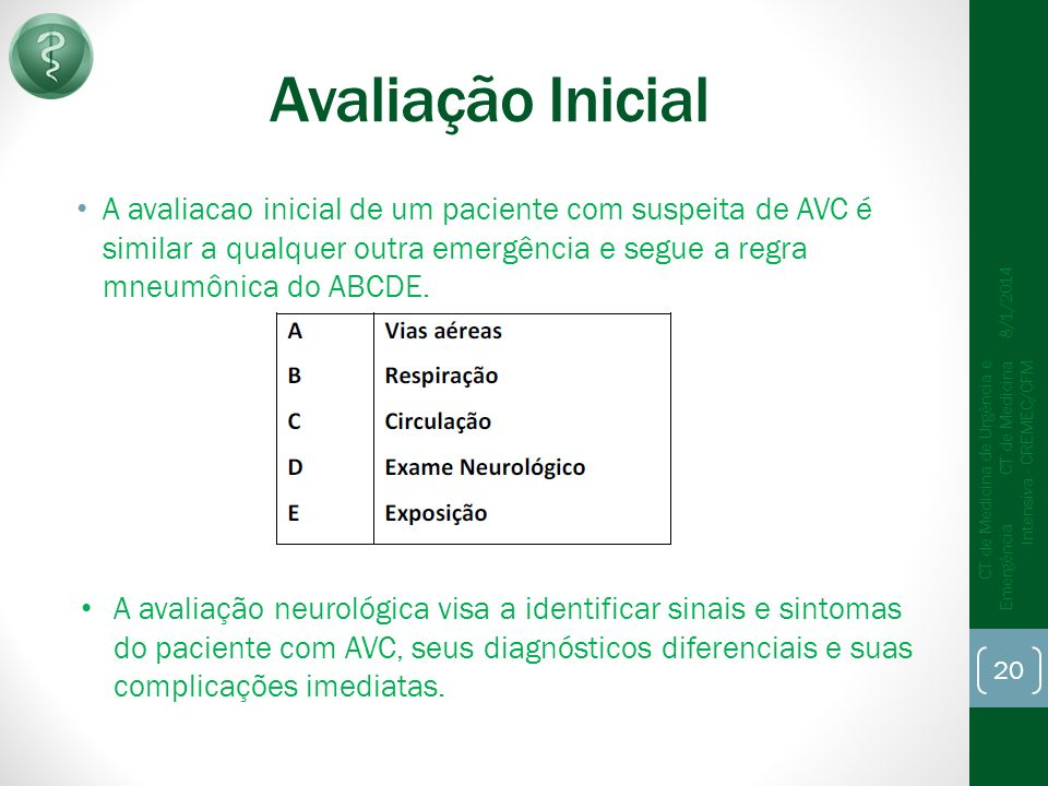 Avaliação Inicial A avaliacao inicial de um paciente com suspeita de AVC é similar a qualquer outra emergência e segue a regra mneumônica do ABCDE.