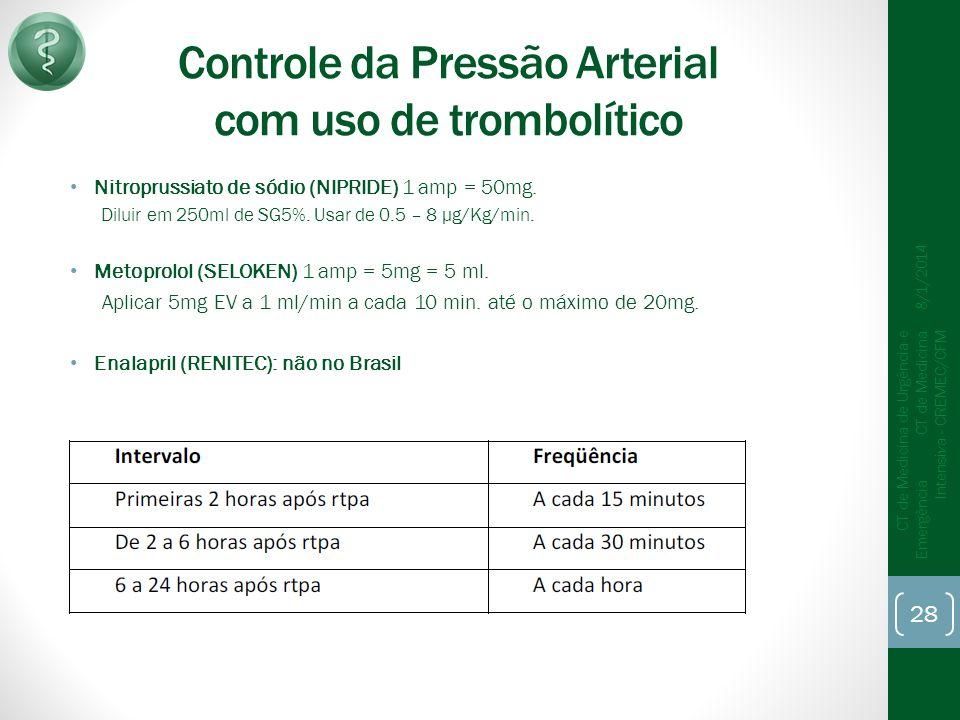 Controle da Pressão Arterial com uso de trombolítico Nitroprussiato de sódio (NIPRIDE) 1 amp = 50mg.