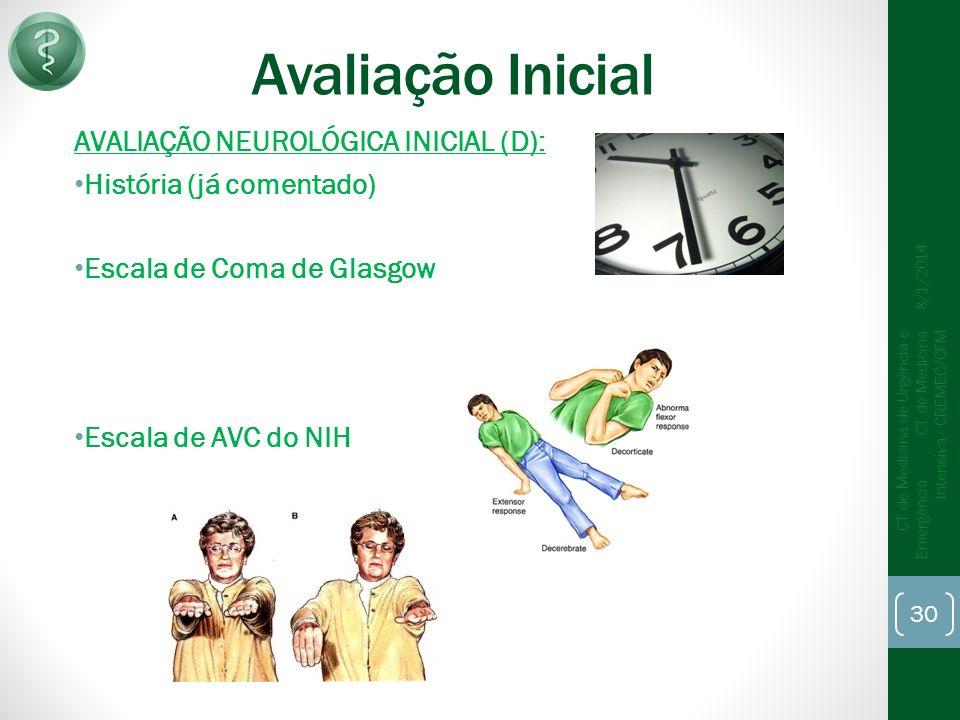 Avaliação Inicial AVALIAÇÃO NEUROLÓGICA INICIAL (D): História (já comentado) Escala de Coma de Glasgow Escala de AVC do NIH 8/1/2014 CT de Medicina de Urgência e Emergência CT de Medicina Intensiva - CREMEC/CFM 30