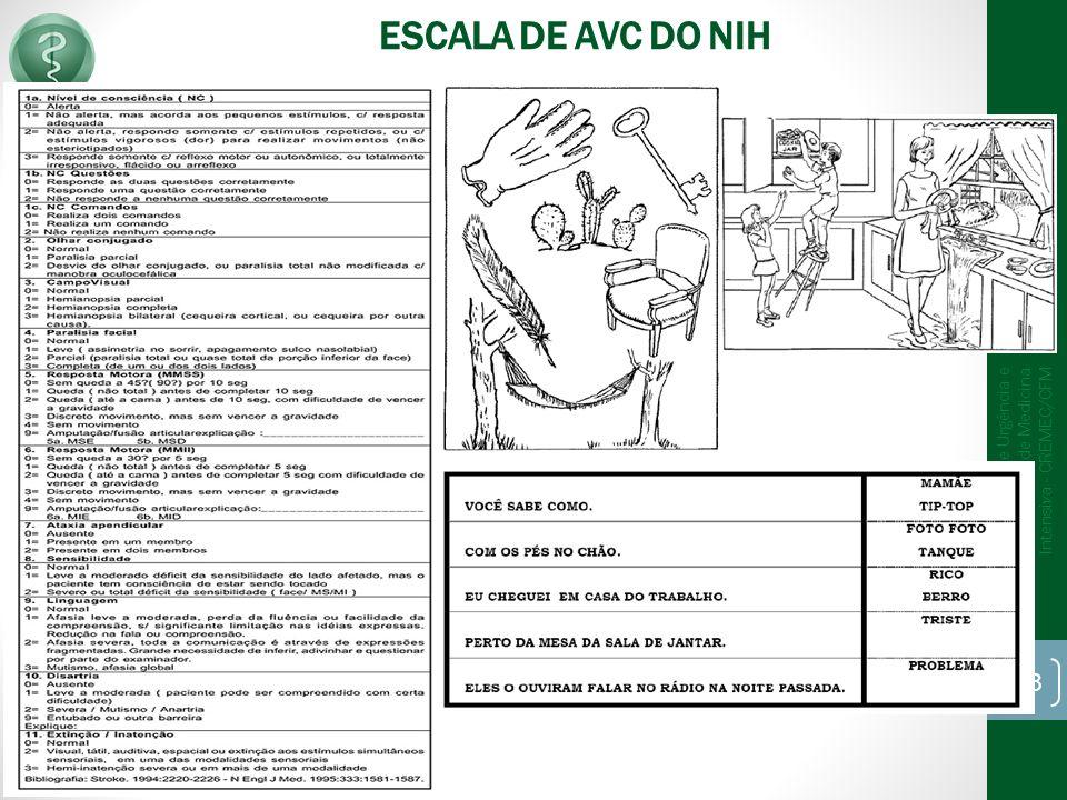 ESCALA DE AVC DO NIH 8/1/2014 CT de Medicina de Urgência e Emergência CT de Medicina Intensiva - CREMEC/CFM 33