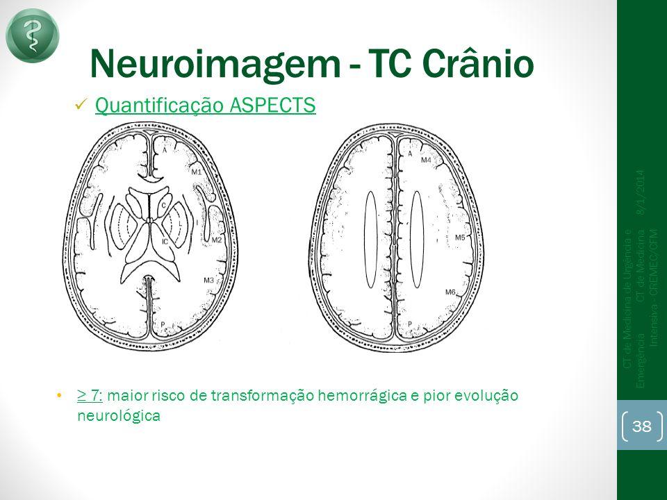 Neuroimagem - TC Crânio Quantificação ASPECTS 8/1/2014 CT de Medicina de Urgência e Emergência CT de Medicina Intensiva - CREMEC/CFM 38 7: maior risco de transformação hemorrágica e pior evolução neurológica