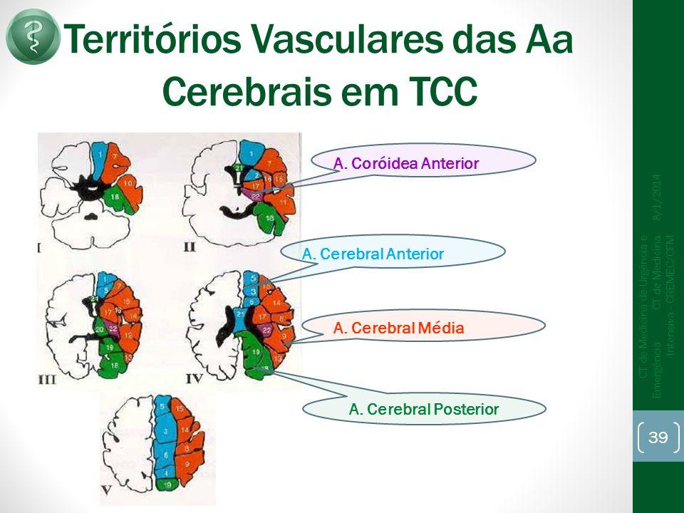 Territórios Vasculares das Aa Cerebrais em TCC 8/1/2014 CT de Medicina de Urgência e Emergência CT de Medicina Intensiva - CREMEC/CFM 39 A.