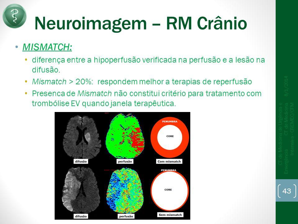 Neuroimagem – RM Crânio MISMATCH: diferença entre a hipoperfusão verificada na perfusão e a lesão na difusão.