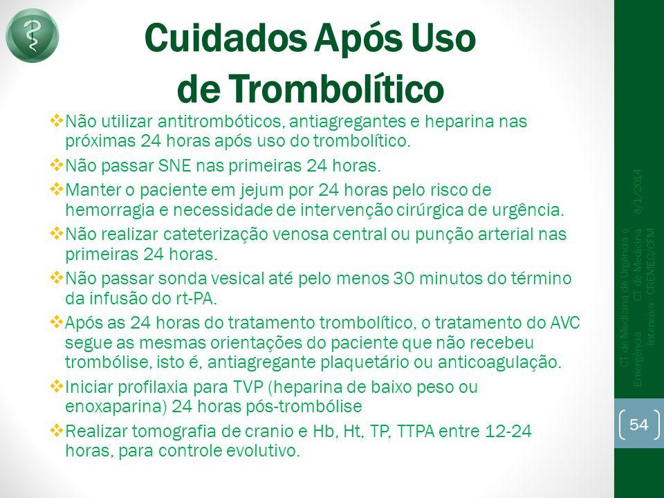 Cuidados Após Uso de Trombolítico Não utilizar antitrombóticos, antiagregantes e heparina nas próximas 24 horas após uso do trombolítico.