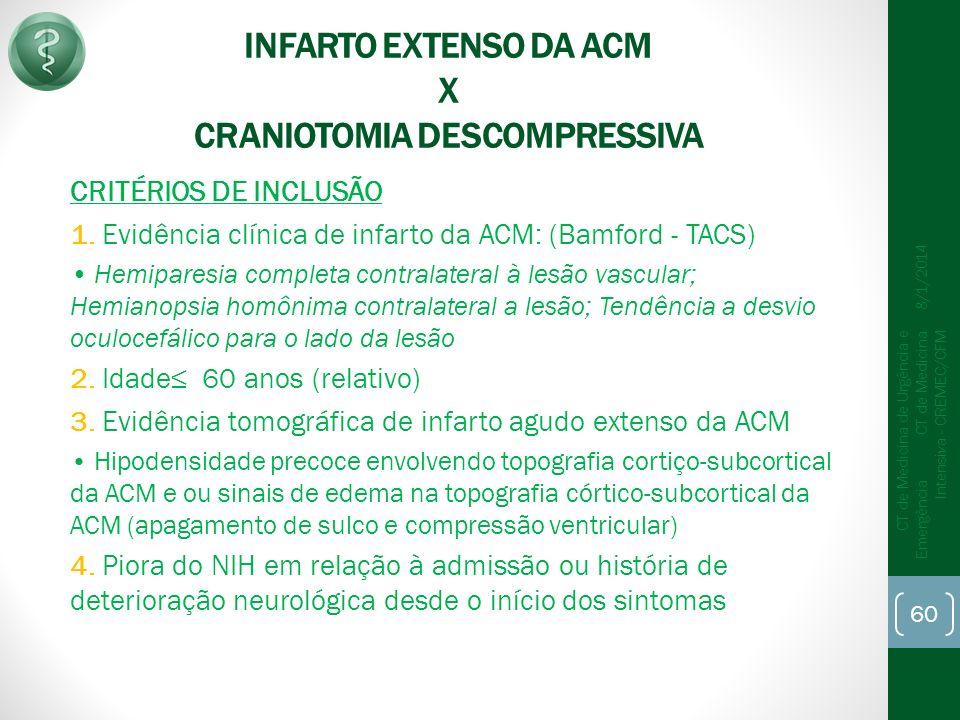 INFARTO EXTENSO DA ACM X CRANIOTOMIA DESCOMPRESSIVA CRITÉRIOS DE INCLUSÃO 1.