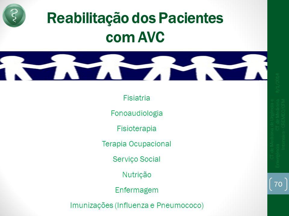 Reabilitação dos Pacientes com AVC Fisiatria Fonoaudiologia Fisioterapia Terapia Ocupacional Serviço Social Nutrição Enfermagem Imunizações (Influenza e Pneumococo) 8/1/2014 CT de Medicina de Urgência e Emergência CT de Medicina Intensiva - CREMEC/CFM 70